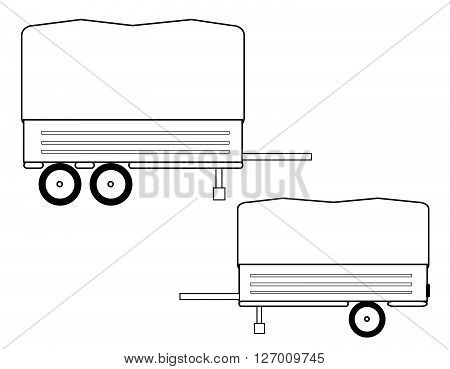 Car trailer isolated on white BACKGROUND.Car trailer Icon vector.