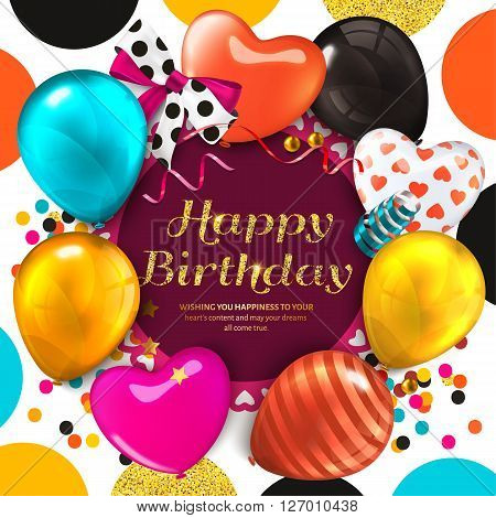 Birthday card with colorful balloons and golden glittering text. Ribbon with bow, confetti, stars, on dotted colorful and gold background.