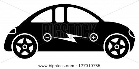Icon with electric hybrid car with an electric power symbol inside