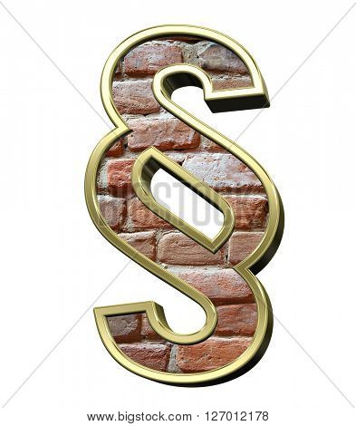 Paragraph sign from old brick with gold frame alphabet set, isolated on white. 3D illustration.