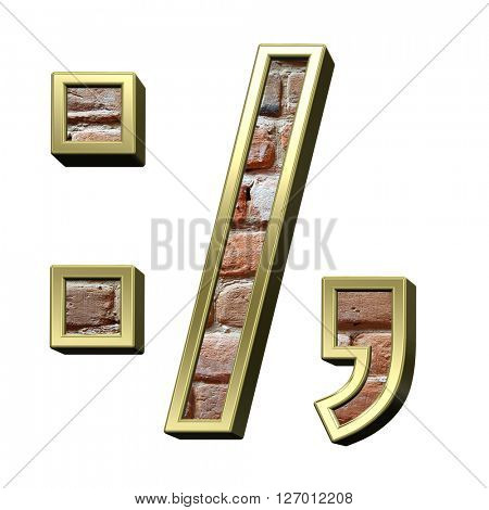 Colon, semicolon, period, comma sign from old brick with gold frame alphabet set, isolated on white. 3D illustration.
