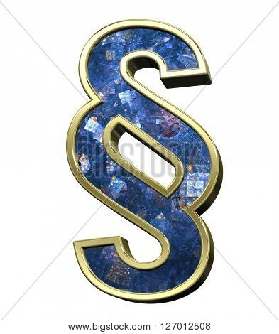 Paragraph sign from blue fractal alphabet set isolated over white. 3D illustration.