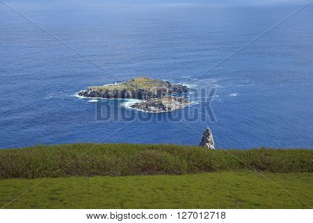 Islands of Motu Nui and Motu Iti lying offshore from the historic village of Orongo on Easter Island