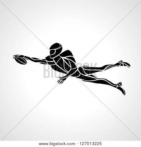 Silhouette of abstract american football player, vector illustration