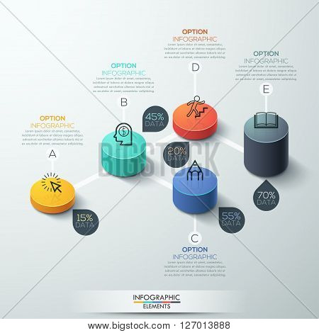 infographic template Modern box cylinder Design. Minimal style, can be used for workflow layout, banner, number options, step up options, web design.