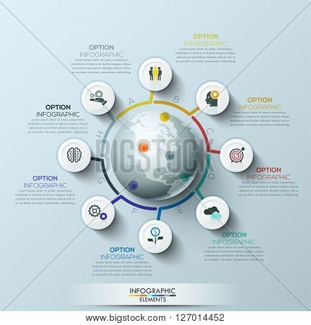 Business process infographic template. Business global template with circles. Can be used for workflow layout, banner, diagram, web design, infographic template.