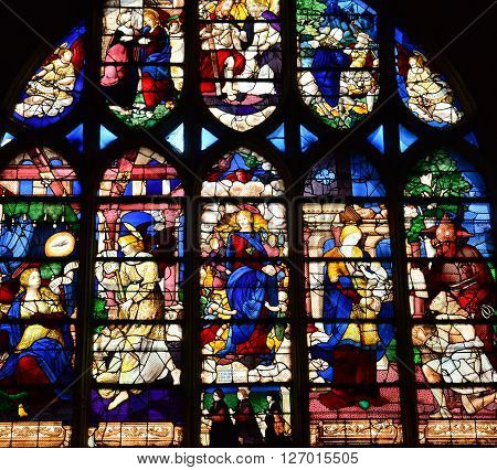 Les Andelys France - august 10 2015 : stained glass window of the collegiate church build in de 1225