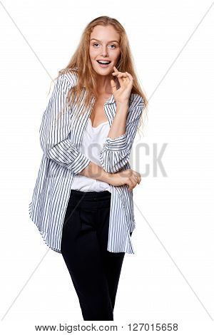 Happy beautiful woman in excitement, isolated over white background