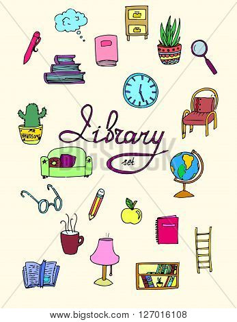 Set of isolated library icons. Hand drawn vector stock illustration