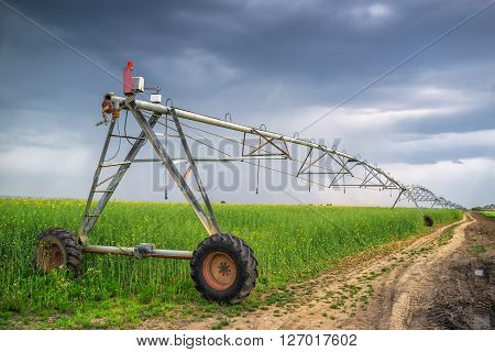 Sprinkler irrigation system in oilseed rape field on cloudy day