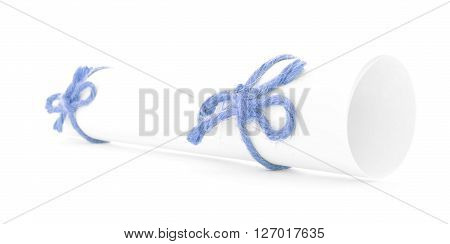 White paper tube tied with rope two blue nodes isolated
