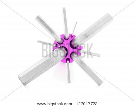 Hexagonal key iron tool for repair isolated on white background