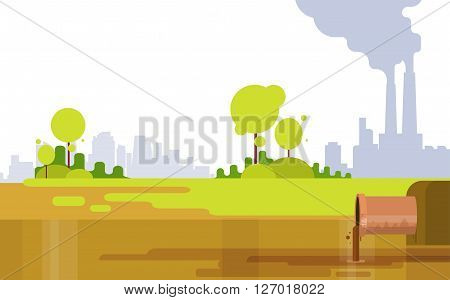 Nature Pollution Plant Pipe Air Dirty Smoke Waste Water Green Environment Flat Vector Illustration