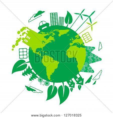 Green Earth Eco Globe Wind Turbine Solar Energy Panel Flat Vector Illustration