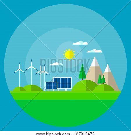 Wind Turbine Solar Energy Panel Mountain Background Flat Vector Illustration