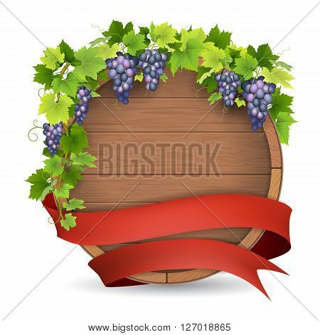 Wooden barrel for wine grapes vine and red ribbon. Winemaking label template.