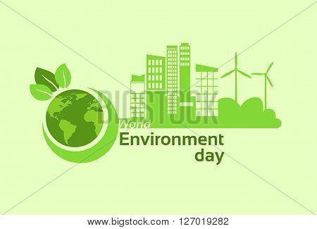 Green City Earth Planet Globe Silhouette Wind Turbine Solar Energy Panel World Environment Day Flat Vector Illustration
