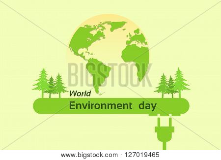 World Environment Day Green Silhouette Forest Earth Planet Globe Flat Vector Illustration