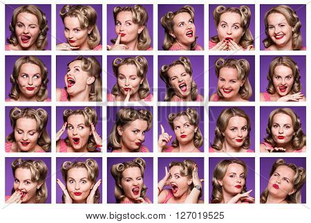 Collage of pinup girl or woman with different facial expressions. Composite of positive and negative emotions in studio.