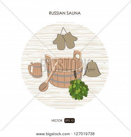 Sauna set. Sauna logo on a white background.