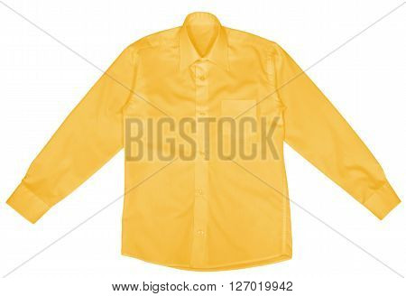 Yellow shirt with long sleeves isolated on white background. Clipping path included.