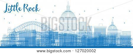 Outline Little Rock Skyline with Blue Buildings. Vector Illustration. Business travel and tourism concept with modern buildings. Image for presentation, banner, placard and web site.