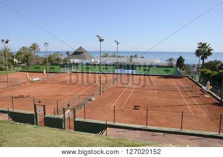 MARBELLA, SPAIN - APRIL 9, 2016: Don Carlos tennis club nexto to the beach in Marbella Spain