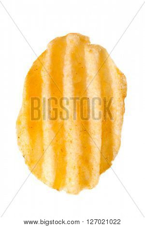 rippled potato chip, isolated on white