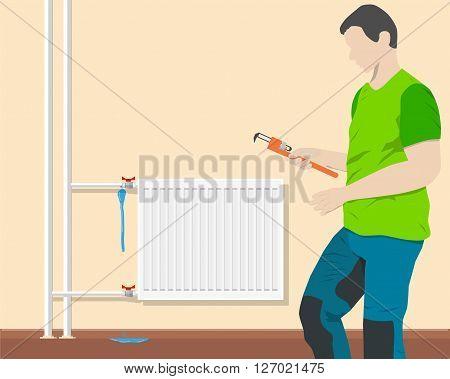Plumber repairing leaking pipe near the battery room. Vector illustration