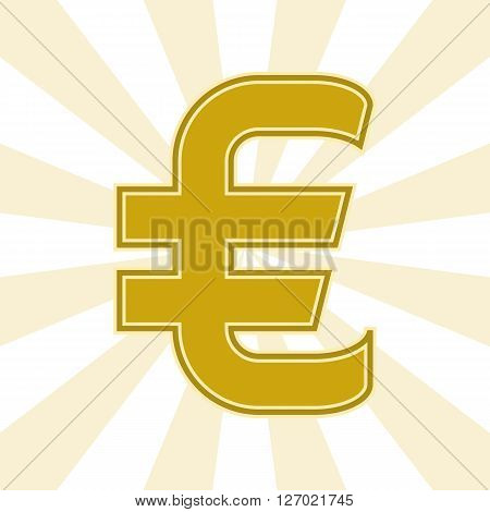 The Euro currency symbol in Golden color on the background of diverging rays. Vector illustration. You can make a seamless background. Graphic symbol of the European currency the Euro.