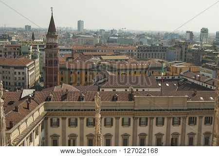 View From Milan Cathedral (duomo). Milan, Italy