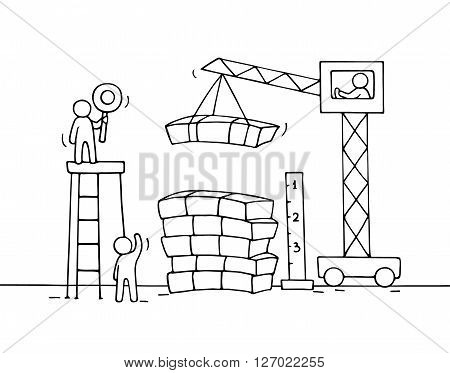 Sketch of stack of cash with working little people crane. Doodle cute miniature of construction pile of dollars and preparing for the big profit. Hand drawn cartoon vector illustration for business design.
