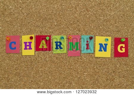 Charming word written on colorful notes pinned on cork board.