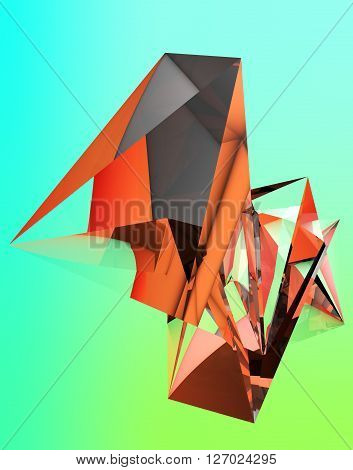 3D illustration of irregular polygonal  polyhedron colored object
