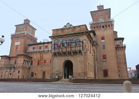 View of Castello Estense in Ferrara Italy