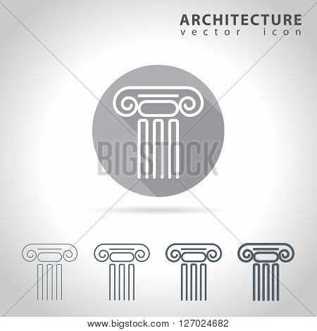 Architecture outline icon set collection of ancient column icons vector illustration