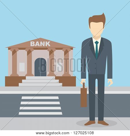 Businessman standing at the bank building finance institution with road on flat style background concept. Vector illustration design