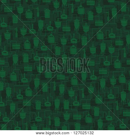 Green seamless background with beer brewing process, production beer, brewery factory production elements, traditional beer crafting. Vector repeating texture