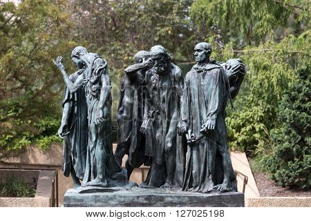 The Burghers of Calais in the Hirshhorn Museum in Washington DC. This is one of the dozen allowed copies from the Rodin original