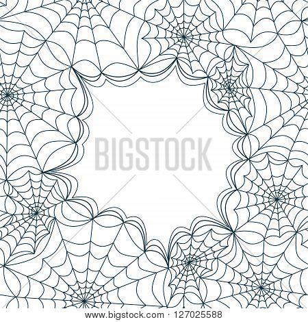 Card template with spiders web, seamless. Halloween vector pattern