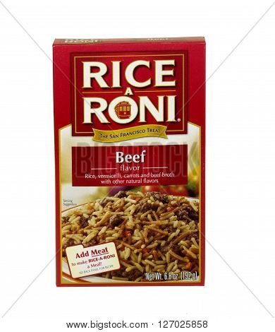 RIVER FALLS,WISCONSIN-APRIL 24,2016: A box of Beef flavored Rice A Roni. Rice A Roni is a product of Quaker Oats Company.