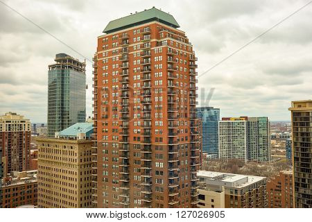CHICAGO, IL - MARCH 28, 2016: view of Chicago in the daytime. The city is an international hub for finance, commerce, industry, technology, telecommunications, and transportation.