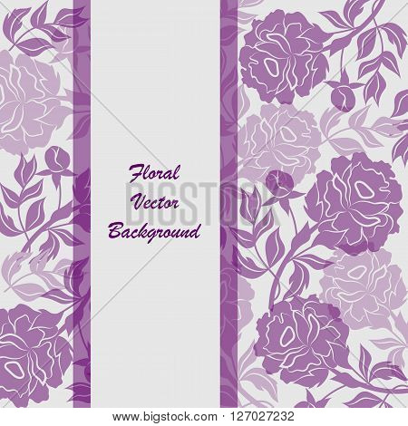 Modern vector templates for brochure cover in A4 size. Vloral vector background with violet peony flowers.