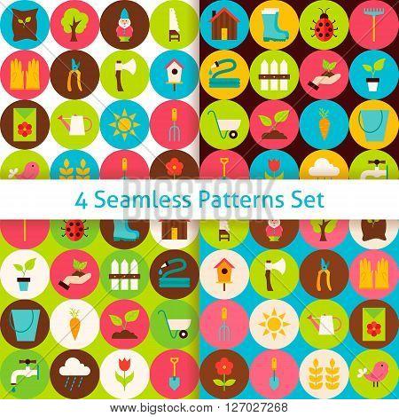 Four Flat Spring Garden Seamless Patterns Set With Circles