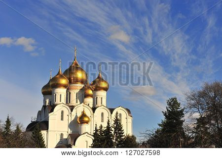 View of Cathedral of Yaroslavl town, Russia