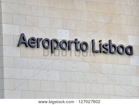 LISBON PORTUGAL - DECEMBER 17: Facade of the international airport of Lisbon on December 17 2013. Lisbon is the capital and largest city of Portugal.