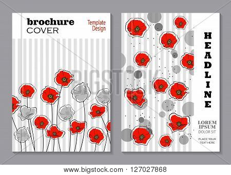 Modern vector templates for brochure cover in A4 size. Abstract red and gray poppy flowers with circles on striped background.