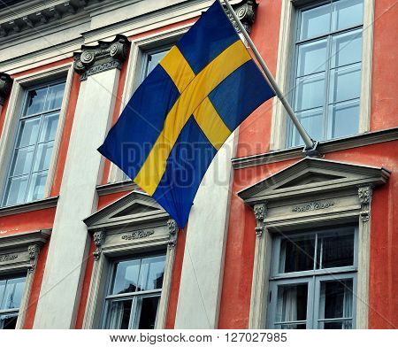 The Building with a colorful swedish flag