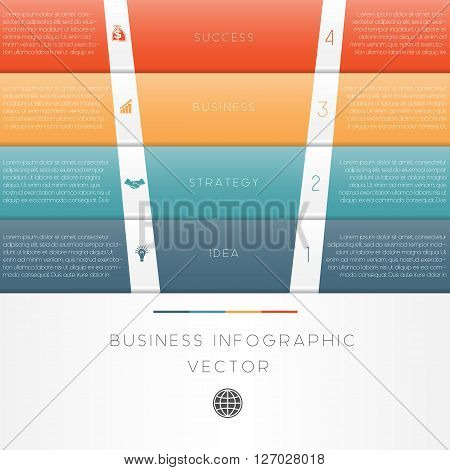 Colour strips vector illustration template of business infographic numbered four position