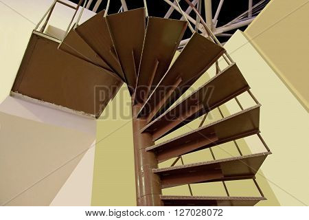 A brown spiral staircase detail of an access ladder on the outside